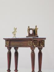 table with clock historical diorama Napoleonic social